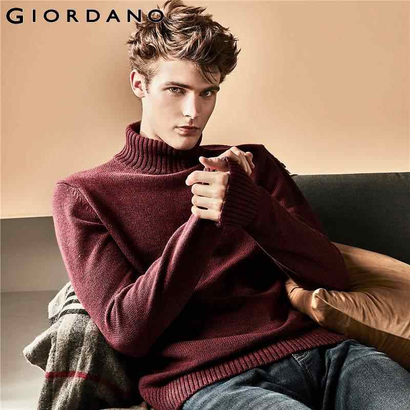 Giordano Men Sweater Men Thick Turtleneck Pullover Men Ribbed Cuffs Hem Sweater Men Heather Pullover Homme Autumn Winter Tops