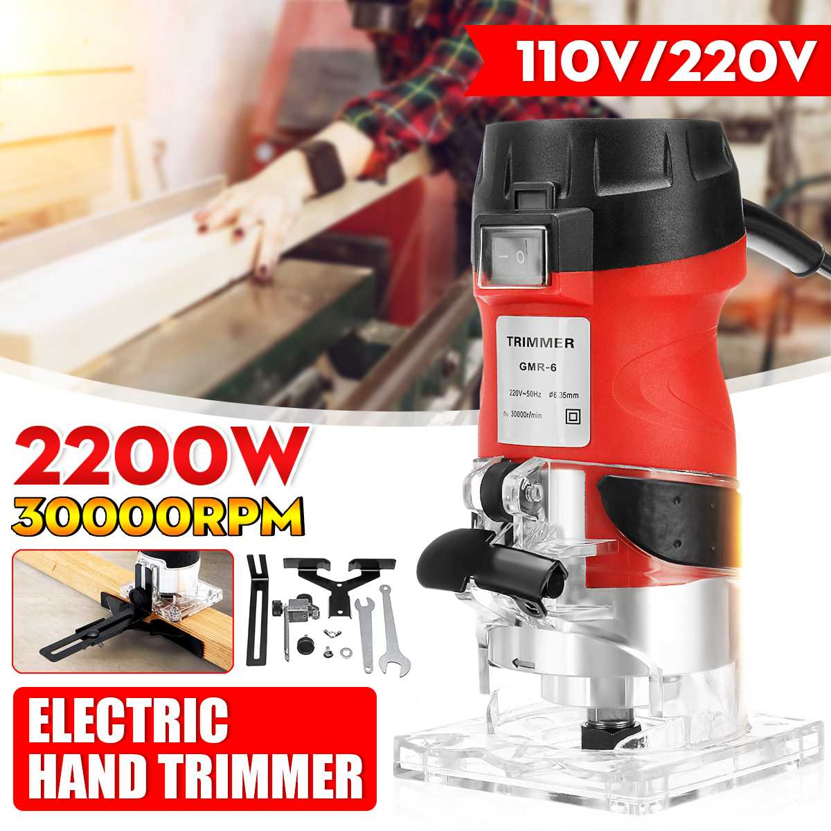 110V/220V 2200W 30000RMP 6.35mm Red Electric Hand Trimmer Wood Laminate Palms Router Joiners Wood Router Woodworking Tool