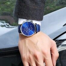 BAOGELA New Relogio Fashion Quartz Watch Man Black Leather Watches Christmas Gifts Men Chronograph Wristwatch For Male
