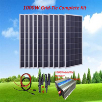 1000W Solar Panel Kit : 10 x 100W Poly Solar Panel Grid Tie Solar System with 1000W Inverter+ 5M Cable+Y Branch Connector Home