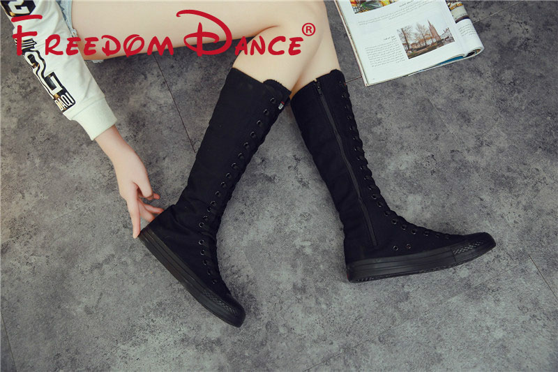 Size 34-43 Classic Canvas Knee High Boots Jazz Dance Boot For Women Lace Up Side Zipper Slim Dance Sneakers Girls Black White saucony кроссовки saucony jazz lowpro blue white 10