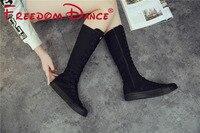 Tamaño 34-43 lona clásicos rodilla danza jazz boot para las mujeres atan para arriba la cremallera lateral danza Delgado zapatillas negro blanco