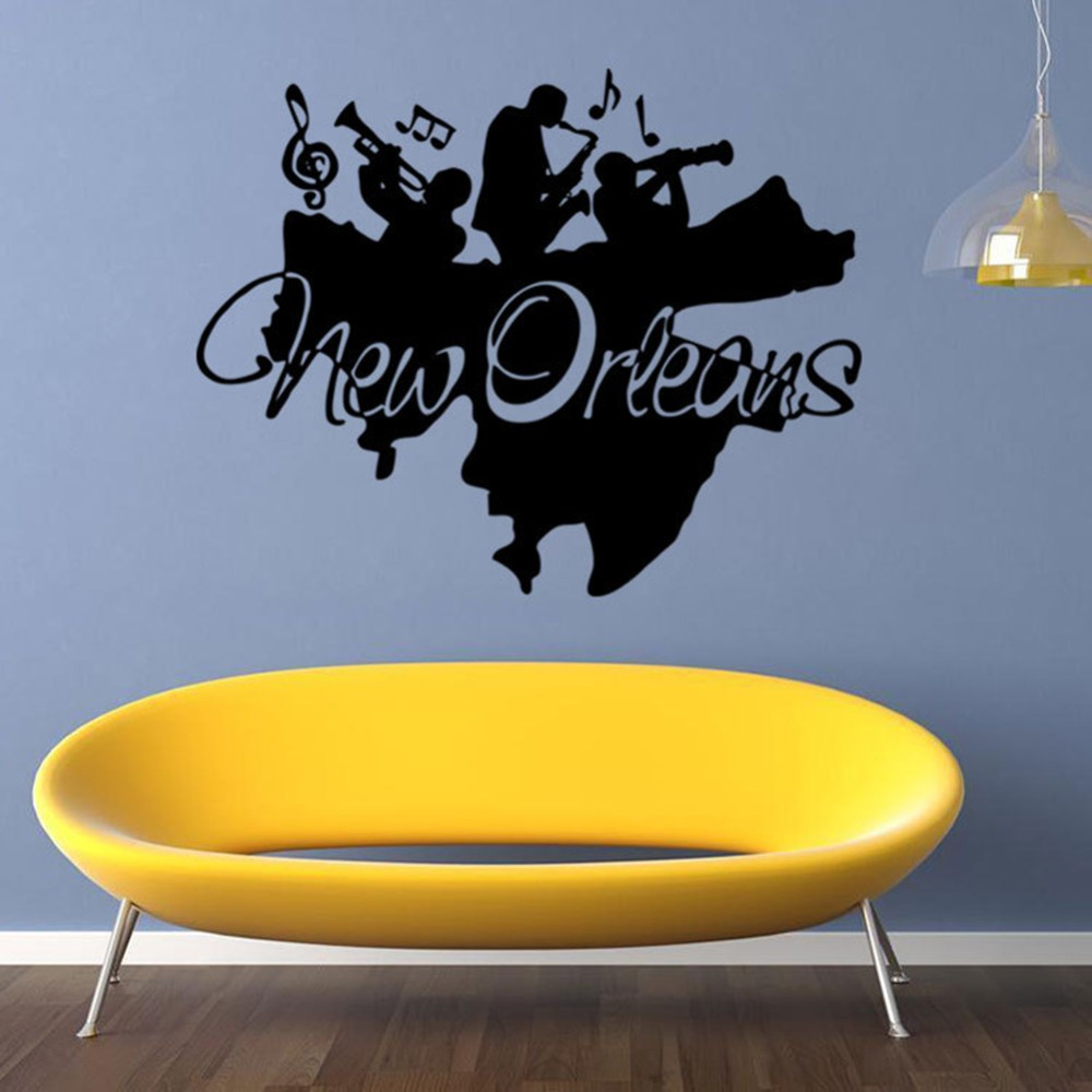 Creative New Orleans Wall Mural Sticker Jazz Band Wall Applique ...
