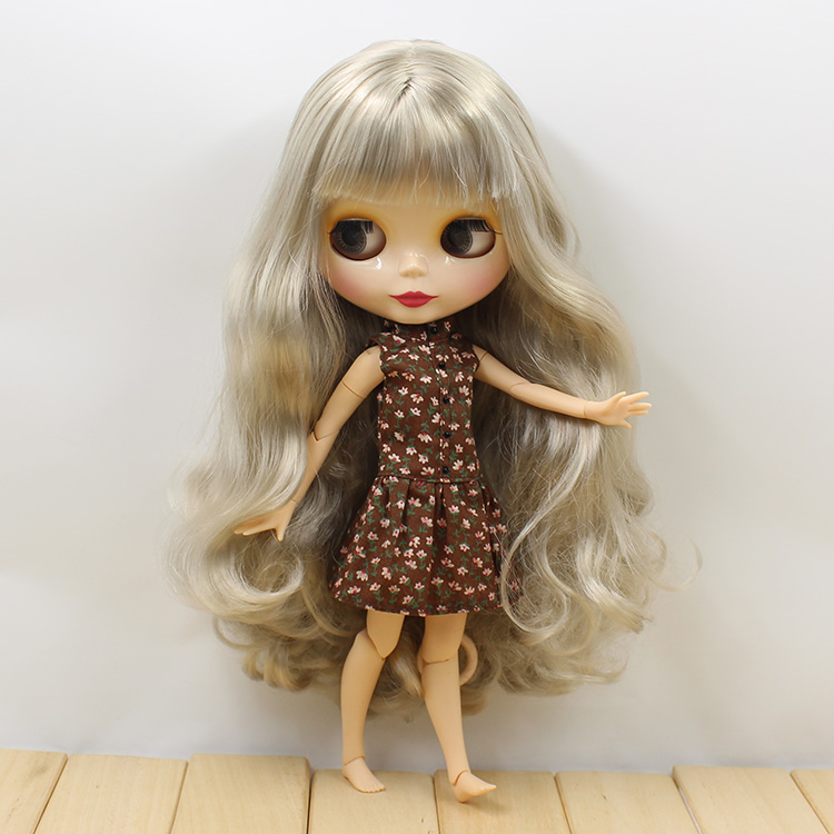 Blyth Doll With Joint Body Grey Long Hair Nude Blyth Joint Body BJD 1/6 Doll Toys For Girls nude blyth joint body bjd 1 6 blyth poppen short beige hair doll toys for girls