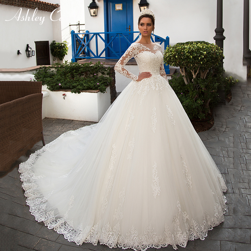 Ashley Carol Sexy Scoop With Jacket Long Sleeve Ball Gown Wedding Dresses 2019 Romantic Tulle Bride Dress Princess Wedding Gowns-in Wedding Dresses from Weddings & Events