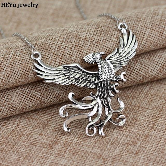 Online shop phoenix fire bird necklace vintage antique silver phoenix fire bird necklace vintage antique silver firebird pendant jewelry for men and women wholesale 20pcs aloadofball Gallery