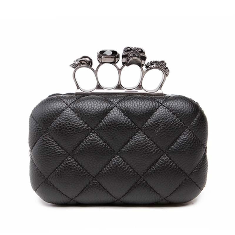 Skull ring woman evening bag vintage plaid woman clutch bag Ladies messenger bags Mini black Luxury party Clutches purse