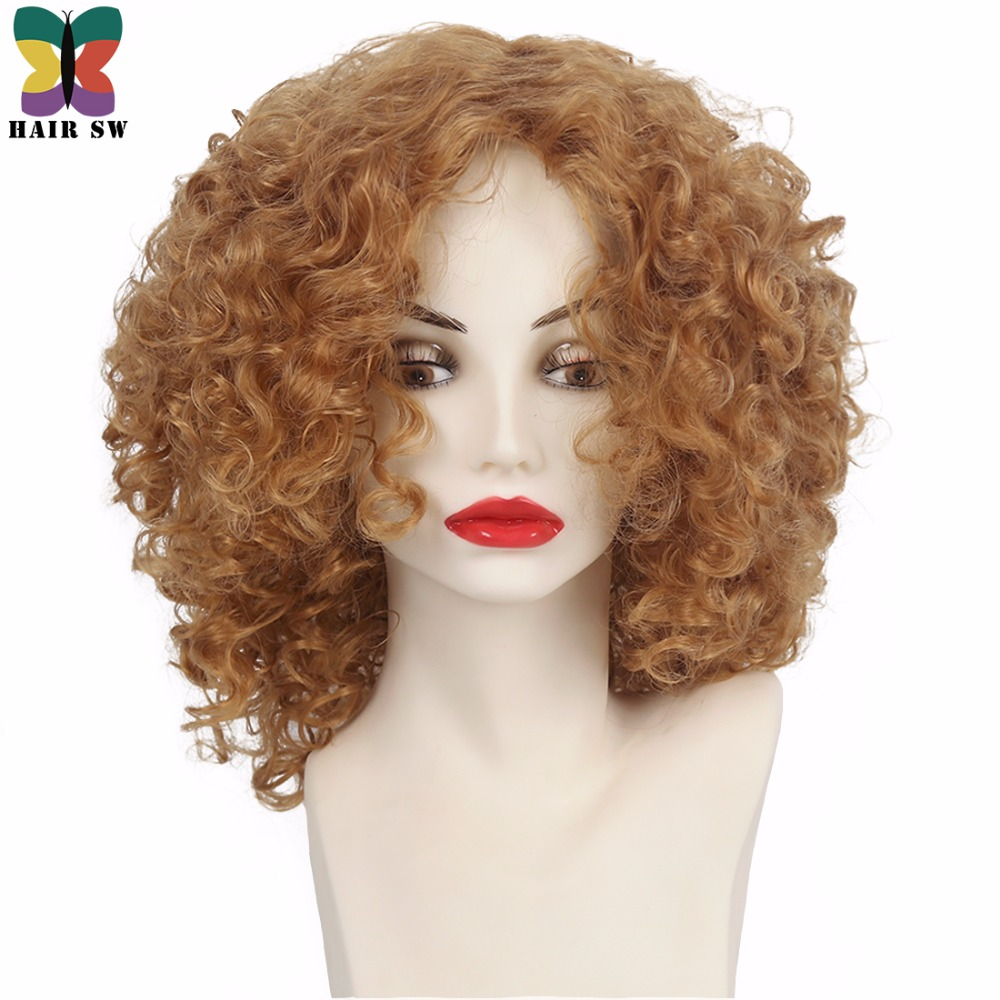 HAIR SW Medium Loose mixed Spiral Curly Synthetic Wig #27 Honey Blonde natura Layered Fl ...