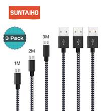 [3 PACK] Micro USB Cable 2.4A Fast Charging Cable Suntaiho Nylon Braid USB Cable Data Charger Cable for Samsung LG Android Phone
