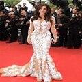 Сексуальная V шеи вечерние платья с длинными рукавами белого кружева знаменитости платья вечерние платья пром