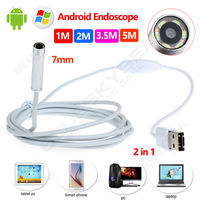 Free Shipping 7mm 6LED Android Endoscope Waterproof Inspection 2 In 1 USB Video Camera 1M 2M