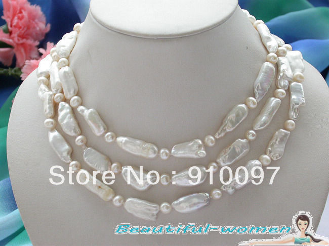 free shipping >>>50 26mm white biwa dens round freshwater cultured pearl necklace