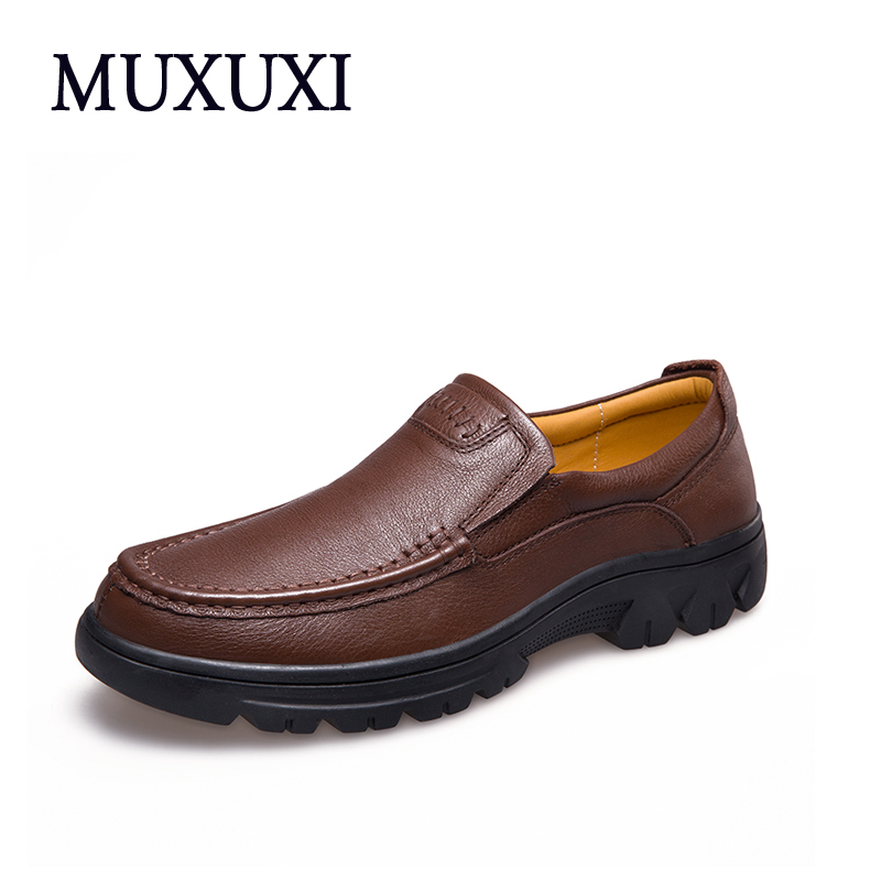 MUXUXI Big Size 37~47 High Quality Genuine Leather Men Shoes Soft Fashion Brand Men Flats Comfy Driving Shoes Business Casual Sh  men luxury brand new genuine leather shoes fashion big size 39 47 male breathable soft driving loafer flats z768 tenis masculino