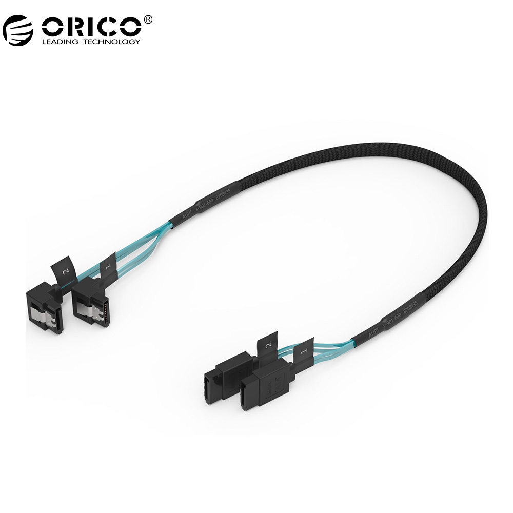 ORICO CPD SATA 3.0 Cable SAS Cable to  2 Pack SATA III Cable with Locking Latch, 6 Gbps, 1.6Ft / 0.5M & 1.8Ft / 0.55M кабели orico кабель microusb orico adc 10