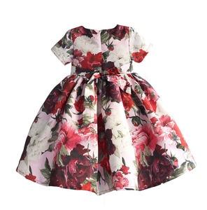 Image 2 - ファッション花の女の子のパーティードレス赤綿子供子供ドレスゴールデンクラウン弓女の子の服パーティー結婚式