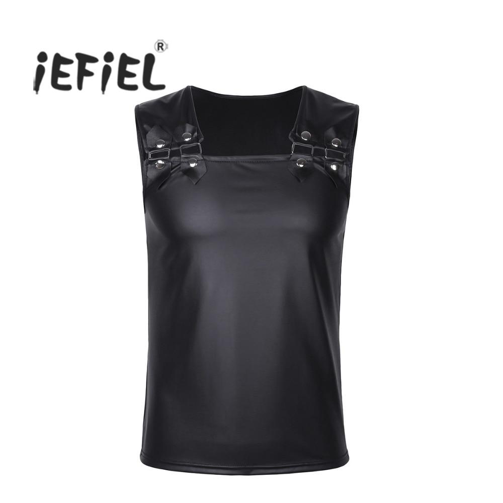 iEFiEL Mens Soft <font><b>Faux</b></font> <font><b>Leather</b></font> Muscle Vest Undershirt Tank <font><b>Top</b></font> <font><b>Sleeveless</b></font> Clubwear Costume Party Clothing for Stage Performance