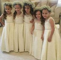 Vintage Ivory Lace Arabic Sheer Neck Crystals Flower Girl Dresses for Wedding Custom Made Size 2-16 Free Shipping