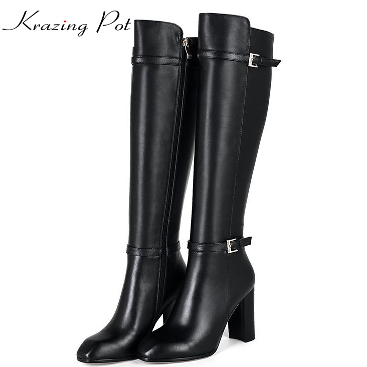 Krazing Pot 2018 genuine leather square toe women winter boots metal buckle decoration keep warm riding over-the-knee boots L80 riding winter boots feathers 2015 new fashion korean metal decoration genuine leather elevator pull on pure color round toe