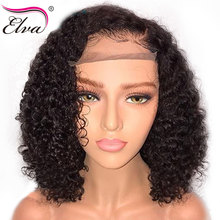 Elva Remy Hair Short Human Wigs For Black Women Curly Lace Front Pre Plucked With Baby Bob Wig 8-16