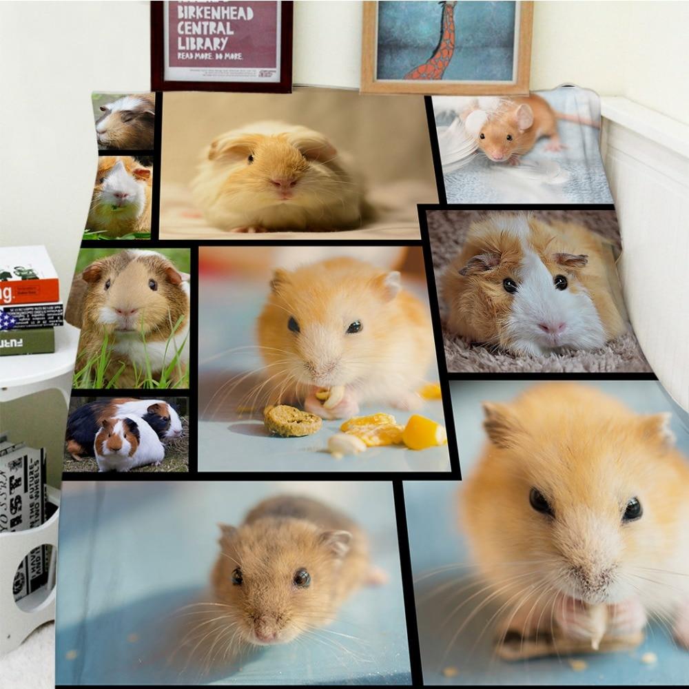Couvertures Cobertor chaleur douce en peluche belle Hamster cochon d'inde souris manger Animal de compagnie lit jeter couverture épaisse Plaid