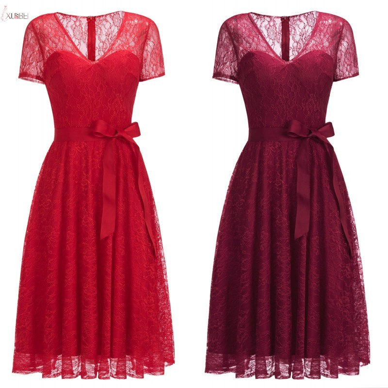 2019 Sexy Elegant Burgundy Red Lace Short   Bridesmaid     Dresses   Plus Size Wedding Party   Dress   robe demoiselle d'honneur