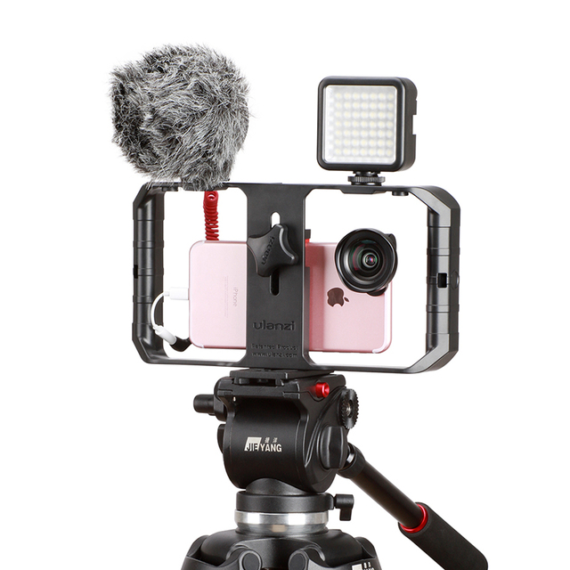 Ulanzi Smartphone Camera Video Gear Setup Handheld Video Rig+Recording microphone,LED video lamp for iPhone 8 Mobile Filmmaking 2