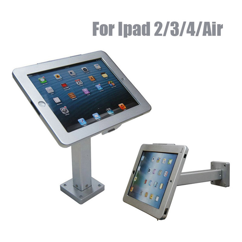 Wall mounted computer table ipad display stand secure tablet enclouse bracket metal wall key holder with lock for Ipad 2 3 4 Air for ipad 2 3 4 air pro 9 7 desktop secure lock stand with metal frame brace display kiosk pos table security holder on hotel