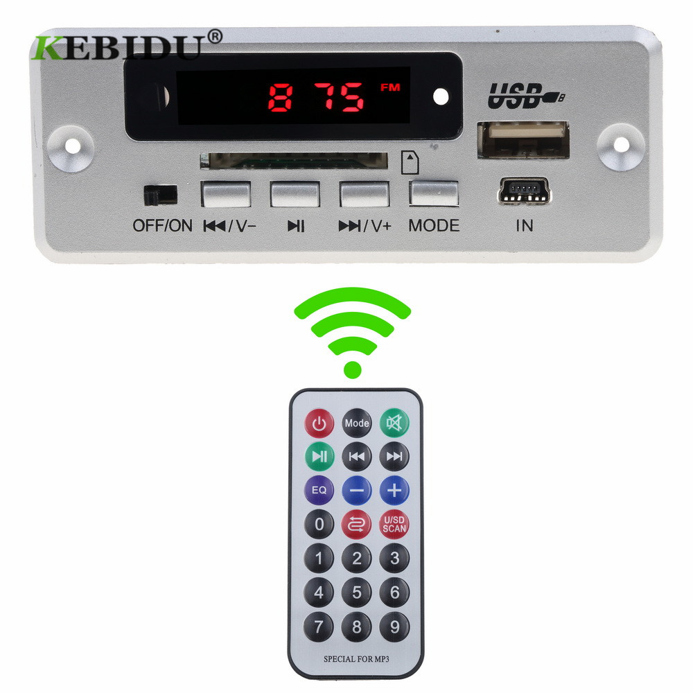KEBIDU Car Bluetooth5.0 MP3 Decoding Board Module Wireless USB MP3 Player Support TF Card Slot / USB / FM / With Remote For Car