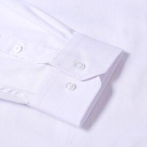 Image 3 - כניסות חדשות 2018 גברים של ארוך שרוול שמלת חולצות עסקים מקרית לבן חולצה גברים קלאסי Fit חתונה חולצה Camisa Masculina