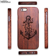 Check Price Monila Luxury Retro Pirate Anchor Real Handmade Bamboo Wooden Case For Iphone 5 5S SE 6 6S 6 Plus 6S Plus Wood Carving Case