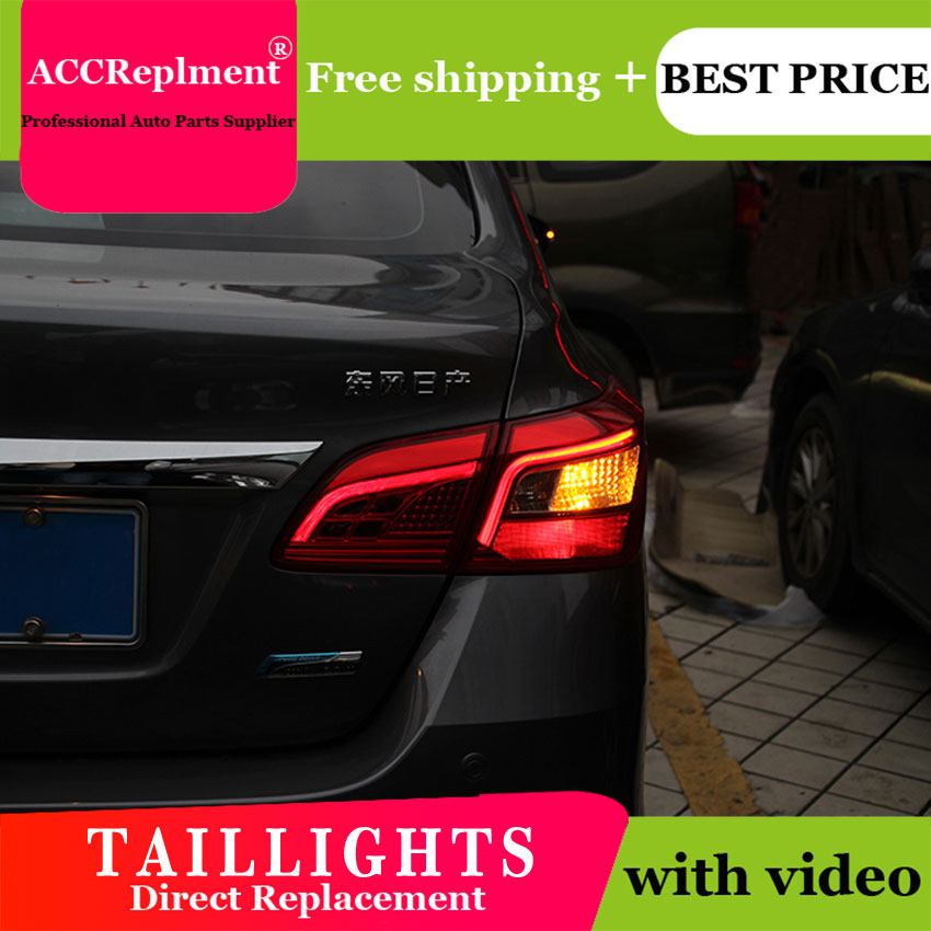 4PCS Car Styling for Nissan Sylphy Sentra Taillights 2016-2017 for Sylphy LED Tail Lamp+Turn Signal+Brake+Reverse LED light carbon fiber reflective car door sills for nissan tiida sylphy sentra sunny almera teanapaladin patrol gtr car styling 4pcs