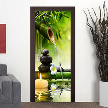 3D Wallpaper Chinese Style Green Bamboo Landscape Door Sticker PVC Self Adhesive Waterproof Mural Living Room Study Home Decor