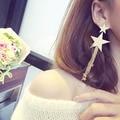 С длинной бахромой пятиконечная звезда Корейского ночной клуб Европейский преувеличены длинные серьги женщина звезда цепи серьги женский 427
