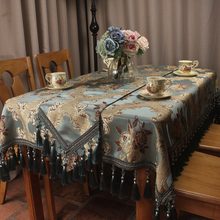 Blue Classic Table Cloth Luxury Jacquard European Style Cover for Dinning Decoration Formal Tablecloth Custom Size