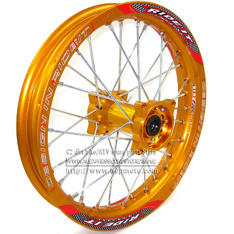 """1.85 x 14inch 리어 림 알루미늄 합금 디스크 플레이트 휠 림 골드 CNC 허브 14 """"32 흙 자전거 구덩이 자전거 바퀴 부품에 대한 스포크"""