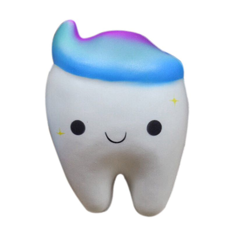 WOTT 11.5CM Jumbo Squishy Rainbow Tooth Slow Rising Cartoon Cool Tooth DIY Decor Soft Squeeze Toy Funny Toy Gift