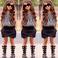 2017 Summer Fashion Girls Clothing Set Tops + Black Shorts 2pcs Striped Suits Children Outfits Sleeveless Baby Girl Clothes Sets