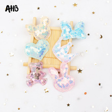 AHB Candy Sequin Patches Cartoon Rabbit Applique for DIY Kids Hair Clips Garment Decor Filling-cotton Accessories