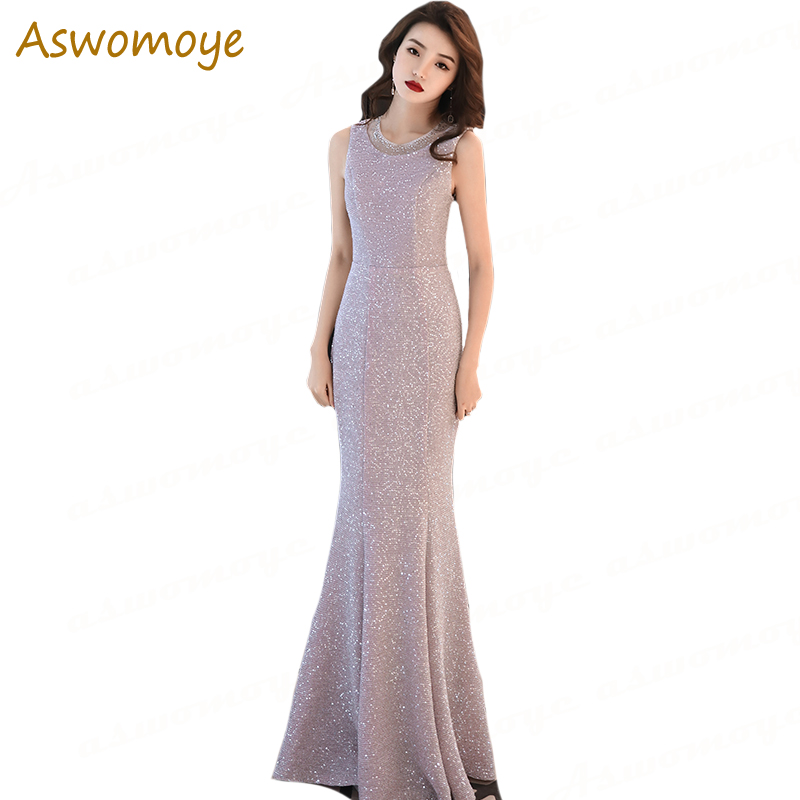 Elegant Mermaid   Evening     Dresses   2018 New Fashion Sleeveless Party   Dress   Princess Floor Length Custom Size vestido de festa