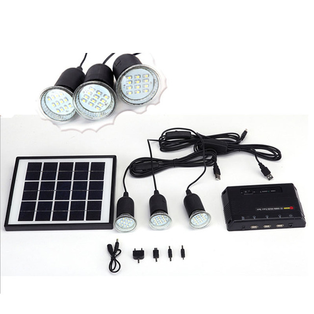 TAMPROAD Solar Led Exterior Home Lighting System Kits Solar Panel Light DC  System With 3 LED
