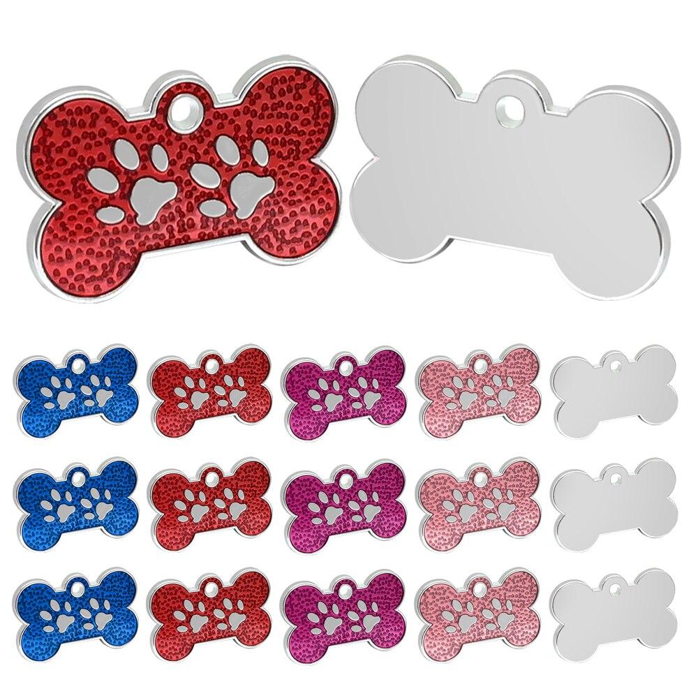 100 pcs/lot personnalisé chien chat ID étiquettes Pet personnalisé os patte étiquette chiot chien collier accessoires nom téléphone pas étiquettes Anti-perdu
