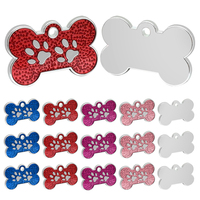 100pcs/lot Personalized Dog Cat ID Tags Pet Custom Bone Paw Tag Puppy Dog Collar Accessories Name Phone No Tags Anti lost