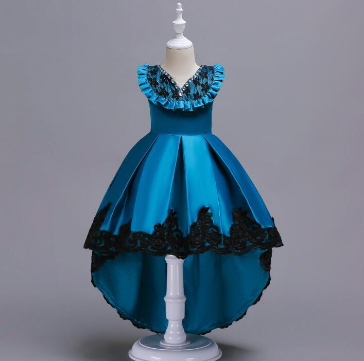Livraison gratuite 3-14 T fleur fille Train robes de mariée fille de haute qualité perle brillante perceuse Tutu robe dentelle princesse robe de fête