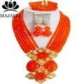 Модный Нигерии Свадебные orange африканские бусы комплект ювелирных изделий Кристалл ожерелье браслет серьги Бесплатная доставка Majalia-170