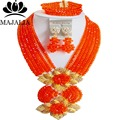 Trendy Nigeria Wedding orange african beads jewelry set Crystal necklace bracelet earrings Free shipping Majalia-170