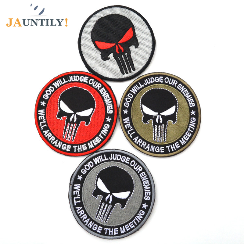 Backpack Embroidered Cloth Label 3D Round DIY Punisher Skull Military Tactical Patch Tape Army Morale Badge Armband Patches