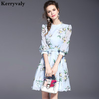 New Lady Floral Print Retro Dress Robe Femme Ete 2017 Vestidos Robe Vintage Ukraine Big Swing
