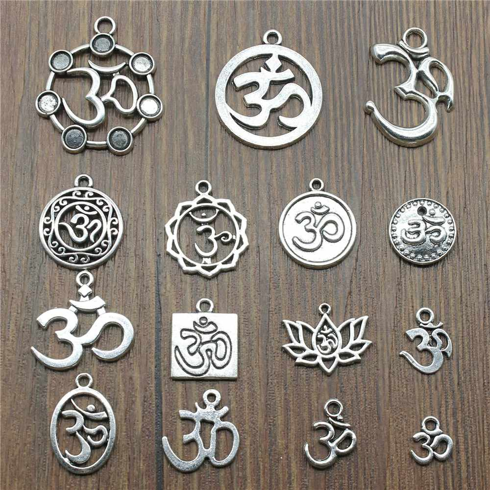10 adet/grup Charms Om antik gümüş renk Om kolye takılar Yoga Om takılar takı yapımı için