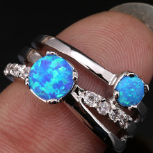 Moda rondas gemas cielo ópalo de fuego azul y blanco moda 925 plateó las mujeres de la joyería # tamaño 6 7 8 9 SF1177