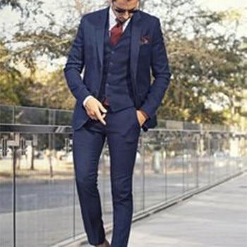 Custom Made Dark Blue Mens Suit Tailor Made Suit Bespoke Light Navy Blue Wedding Suits For Men Slim Fit Groom Tuxedos For Men
